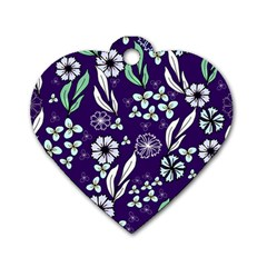 Floral Blue Pattern  Dog Tag Heart (two Sides)