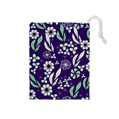 Floral Blue Pattern  Drawstring Pouch (medium)