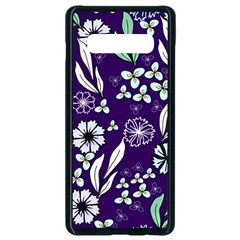 Floral Blue Pattern  Samsung Galaxy S10 Plus Seamless Case (black)