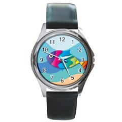 Illustrations Fish Sea Summer Colorful Rainbow Round Metal Watch