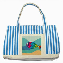 Illustrations Fish Sea Summer Colorful Rainbow Striped Blue Tote Bag