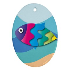 Illustrations Fish Sea Summer Colorful Rainbow Oval Ornament (two Sides)