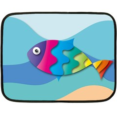 Illustrations Fish Sea Summer Colorful Rainbow Double Sided Fleece Blanket (mini)