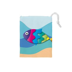 Illustrations Fish Sea Summer Colorful Rainbow Drawstring Pouch (small)