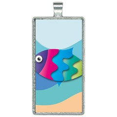 Illustrations Fish Sea Summer Colorful Rainbow Rectangle Necklace
