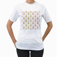 Heart Pineapple Women s T-shirt (white) (two Sided)