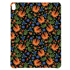 Orange Flowers Pattern Apple Ipad Pro 12 9   Black Uv Print Case by designsbymallika