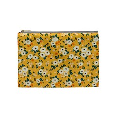 White Flowers Cosmetic Bag (medium)