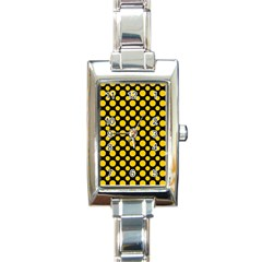 Dot Dots Dotted Yellow Rectangle Italian Charm Watch