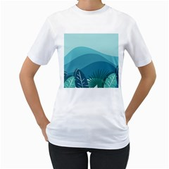 Illustration Of Palm Leaves Waves Mountain Hills Women s T-shirt (white) (two Sided)