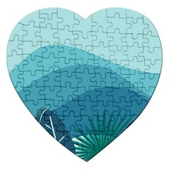 Illustration Of Palm Leaves Waves Mountain Hills Jigsaw Puzzle (heart)