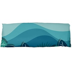 Illustration Of Palm Leaves Waves Mountain Hills Body Pillow Case (dakimakura)