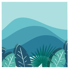 Illustration Of Palm Leaves Waves Mountain Hills Wooden Puzzle Square