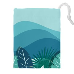 Illustration Of Palm Leaves Waves Mountain Hills Drawstring Pouch (3xl)