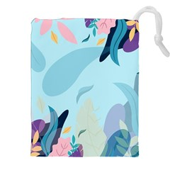 Nature Leaves Plant Background Drawstring Pouch (2xl) by Mariart