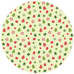 Cute Christmas Pattern Wooden Puzzle Round