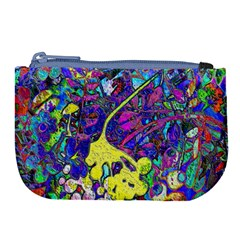 Vibrant Abstract Floral/rainbow Color Large Coin Purse by dressshop