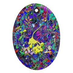 Vibrant Abstract Floral/rainbow Color Ornament (oval)