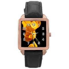 Yellow Poppies Rose Gold Leather Watch  by Audy