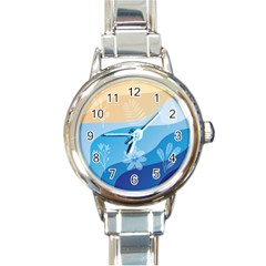 Flower Branch Corolla Wreath Lease Round Italian Charm Watch