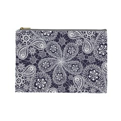 White Flower Mandala Cosmetic Bag (large)