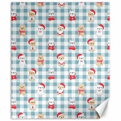 Checks Pattern With Christmas Animals Canvas 20  X 24  by designsbymallika