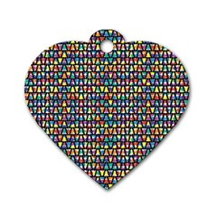 Colorful Christmas Tree Dog Tag Heart (two Sides)