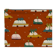 Cute Merry Christmas And Happy New Seamless Pattern With Cars Carrying Christmas Trees Cosmetic Bag (xl)