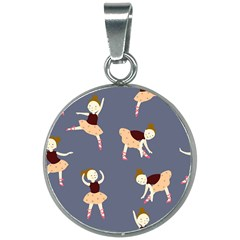 Cute  Pattern With  Dancing Ballerinas On The Blue Background 20mm Round Necklace