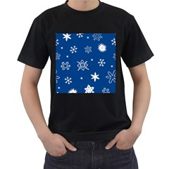 Christmas Seamless Pattern With White Snowflakes On The Blue Background Men s T-shirt (black) (two Sided) by EvgeniiaBychkova
