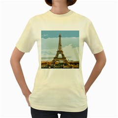 The Eiffel Tower  Women s Yellow T-shirt by ArtsyWishy