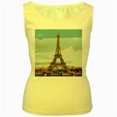 The Eiffel Tower  Women s Yellow Tank Top by ArtsyWishy