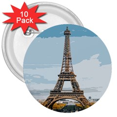The Eiffel Tower  3  Buttons (10 Pack)  by ArtsyWishy