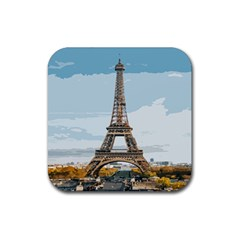 The Eiffel Tower  Rubber Coaster (square)  by ArtsyWishy