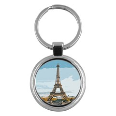 The Eiffel Tower  Key Chain (round) by ArtsyWishy