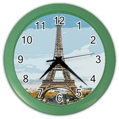 The Eiffel Tower  Color Wall Clock by ArtsyWishy