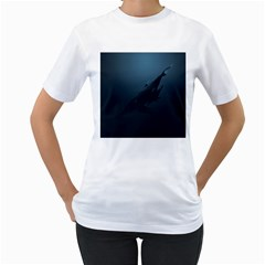 Blue Whale Family Women s T-shirt (white) (two Sided) by goljakoff