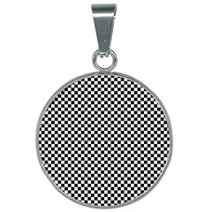 Black And White Checkerboard Background Board Checker 25mm Round Necklace