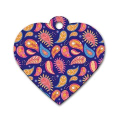 Blue Paisley Print 2 Dog Tag Heart (two Sides)