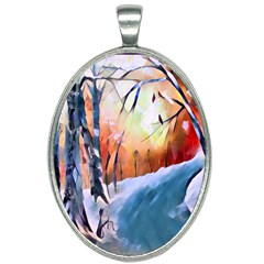 Paysage D hiver Oval Necklace