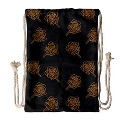 Roses Pattern Black-01 Drawstring Bag (large)