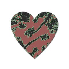 Tropical Style Floral Motif Print Pattern Heart Magnet by dflcprintsclothing