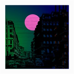 Vaporwave Old Moon Over Nyc Medium Glasses Cloth (2 Sides)