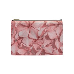 Coral Colored Hortensias Floral Photo Cosmetic Bag (medium)