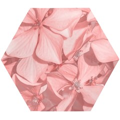 Coral Colored Hortensias Floral Photo Wooden Puzzle Hexagon