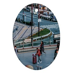 Crowded Urban Scene, Osaka Japan Oval Ornament (two Sides)