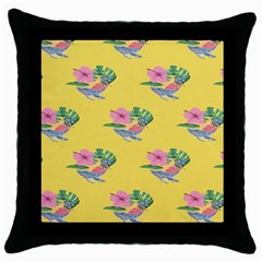 Floral Throw Pillow Case (black) by Sparkle