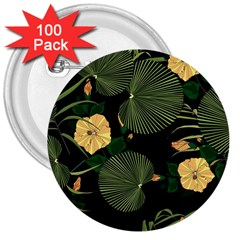 Tropical Vintage Yellow Hibiscus Floral Green Leaves Seamless Pattern Black Background  3  Buttons (100 Pack)  by Sobalvarro