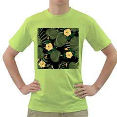 Tropical Vintage Yellow Hibiscus Floral Green Leaves Seamless Pattern Black Background  Green T-shirt by Sobalvarro
