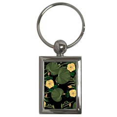 Tropical Vintage Yellow Hibiscus Floral Green Leaves Seamless Pattern Black Background  Key Chain (rectangle) by Sobalvarro